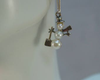 Cultured Pearls and Sterling Snowman Earrings