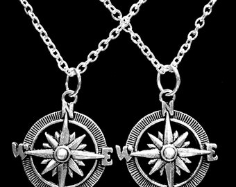 Best Friend Compass Friends Couple's His And Hers Sisters Mother Daughter Nautical Direction Necklace Set