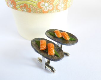 Salmon Nigiri Sushi Cufflinks - Sushi Cuff Links - Miniature Food Jewelry Collectable - Schickie Mickie Original 100% Handmade