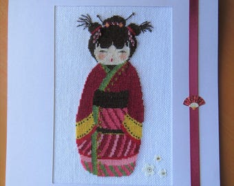 (Large) hand embroidered card: doll Kokeshi