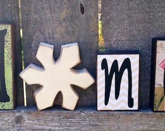 Chunky Wood Seasons Home Interchangeable Letter Block Set with Pumpkin, Snowflake, Watermelon, & Flower, Home Wood Seasons Block Set