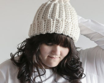 Chunky Ribbed Hat Slouchy Beanie With Pom Pom | THE COPSE in Fisherman