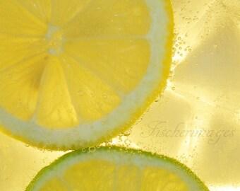Macro Color Lemon & Lime Bubbles Water Wall Art Home Decor Digital Download Linda Fischer Fischerimages Fine Art Photography