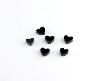 Dark Heart Beads in Black Onyx or Hematite
