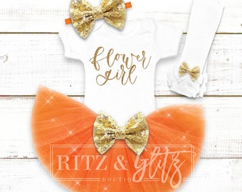 Flower Girl Outfit | Flower Girl Shirt | Flower Girl Gift | Flower Girl Proposal | Will You Be My Flower Girl | Orange Flower Girl Outfit