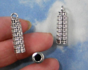 6 Tower of Pisa Charms Italy Travel Charm Antique Silver Tone 3D (P1627)