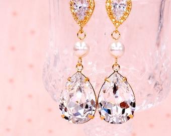 Gold Swarovski Teardrop Crystal Bridal Wedding Bracelet, Earrings, Necklace, Bridesmaid gifts, Brides Pearl, Cubic Zirconia E140 B89 N36