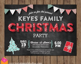 Turquoise and Red Christmas Party Invitation - Retro Vintage Chalkboard - Choose Digital or Printed with Envelopes