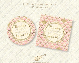 Nautical Blush Pink Thank You Tags printable favor tag gold glitter fish scales rope instant download pool party birthday baby shower pdf