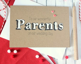 Parents Wedding Day Card. Card for my Parents. Wedding Card for Parents. Wedding Thank You. Bride Parents. Groom Parents. Parents Cards.