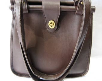 Rare Authentic Vintage Coach All Leather Brown Shopper Tote Made in the USA