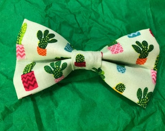 Cactus print dog bow tie