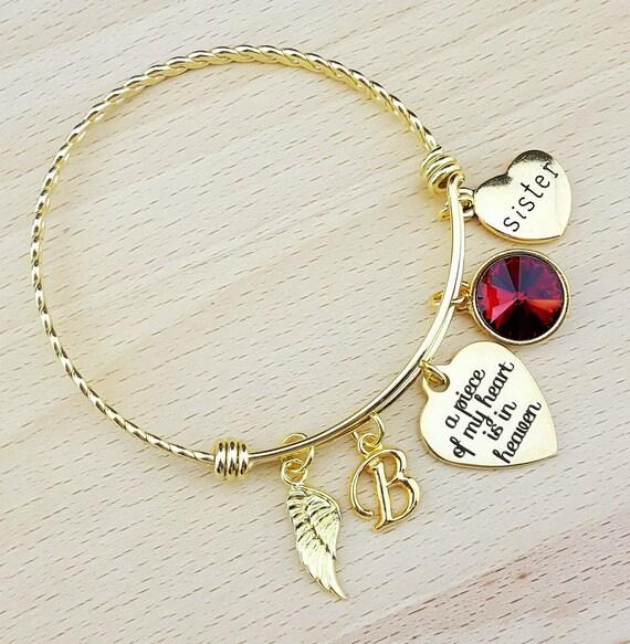 Sympathy Bracelet Sympathy Gift In Memory of Sister Memorial Bracelet Loss of Sister Remembrance Bracelet Remembrance Jewelry Gold Bangle