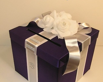 Wedding  Card Box Purple/White and Silver Gift Card Box Money Box Holder-Customize/made to order