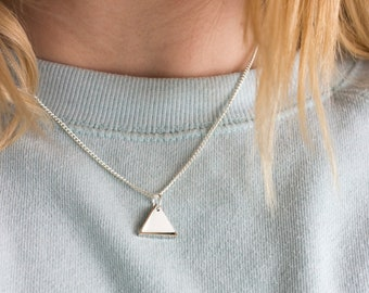 Mini Geometric Two Triangle Metal Necklace (White)