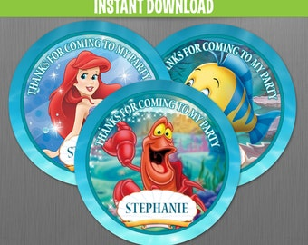 Disney The Little Mermaid Birthday Favor Tags - Instant Download and Edit with Adobe Reader
