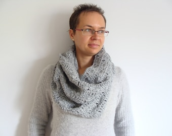 Gray infinity scarf, hand crochet cowl scarf, women's infinity scarf, gray snood, crochet neckwarmer, gift for her
