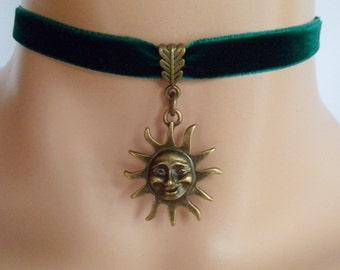 sun choker, green velvet choker, sun necklace, pagan necklace