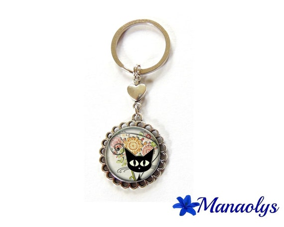 Key ring or jewelry bag cat 42 glass cabochons
