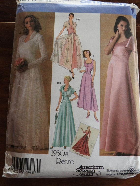 Simplicity 4270 Women\'s 1930s Retro Wedding And Evening Gowns Sewing ...