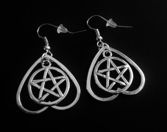 ouija board planchette earrings, occult jewelry, gothic, goth, nu goth, witchy