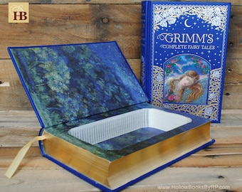 Book Safe - Grimm's Complete Fairy Tales - Blue Leather Bound Hollow Book Safe
