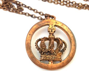 Vintage Copper Brass Pendant Chain Necklace With Crown