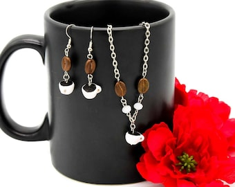 Java Coffee Earrings and Necklace Set