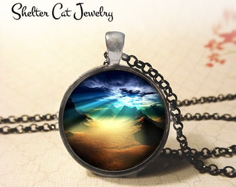 "Alien Landscape at Sunset Necklace - 1-1/4"" Circle Pendant or Key Ring - Handmade Wearable Photo Art Jewelry - Mountains, Galaxy, Space Gift"