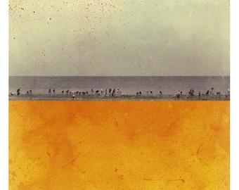 Pole Orange (Landscape Photography - Fine Art Print - Ocean Beach - Silhouettes - Monochromatic - Painting - Color Block - Orange)