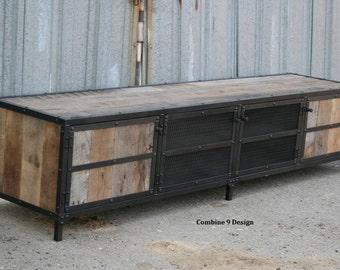 Reclaimed Wood Media Console. Rustic Industrial Credenza. Entertainment Center. Barn wood Sideboard. Urban Buffet. Modern Design. Retro.