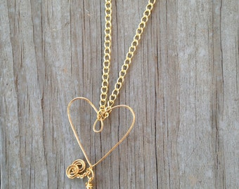 Wire Heart Necklace, Wire Sculpted Heart, Valentine's Day Necklace, Valentine's Day, Gifts for Her, Heart Necklace