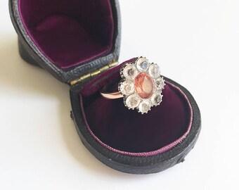 Antique Georgian 10 Karat Rose Gold Silver Pink Black Dot Paste Cluster Ring Conversion Ring Paste Diamonds Statement Size 5