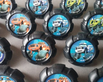24 Blaze and the Monster Machines wheel rings for cupcake toppers cake birthday party favors Nick Jr Nickelodeon Stripes Darington Zeg