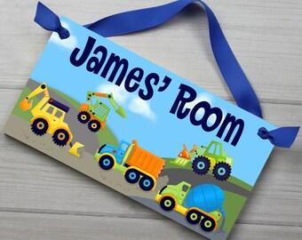 Lots of Trucks Bright Construction Truck Boys Bedroom Baby Nursery DOOR SIGN Wall Art DS0368