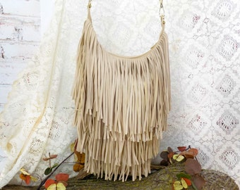 fringe shoulder bag - vegan fringe handbag - fringe Hobo Bag -Tan fringe purse - Vegan Boho Bag -Bohemian Hobo Bag ,shoulder tote ,  # 21