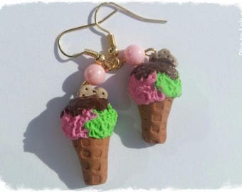 Ice cream cone earrings in polymer clay