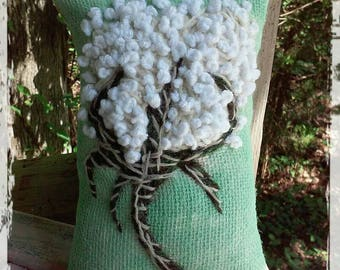 Cotton Boll/ Southern /Hand Embroidered/ Mini Pillow/ Made to Order/YelliKelli