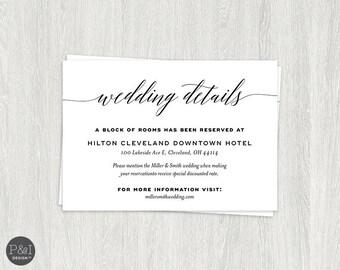 Details   Accommodations Wedding Reception Card Insert   Printable   Customizable   Digital File 3.5 x 5