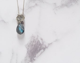 Earth inspired necklace, sterling silver & labradorite drop, OOAK, nature lover, spirit of earth pendant, bark necklace