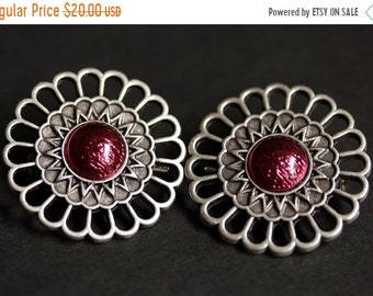 MOTHERS DAY SALE Set of Two Viking Brooches. Lipstick Red Norse Shoulder Brooches. Magenta Brooches. Apron Pins. Handmade Historical Renaiss
