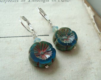 Blue Flower Earrings With Crystal Silver Leverbacks  Boho Style Floral Bohemian Gifts Under 30 Aqua Red Summer Holiday