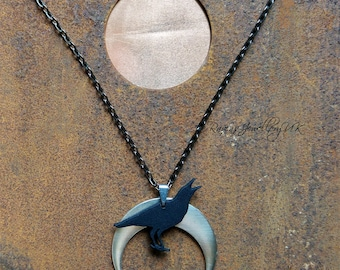 Corvid, Raven and Crescent Moon pendant
