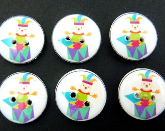 """6 Jack In The box Buttons.  5/8"""" or 16 mm Round."""