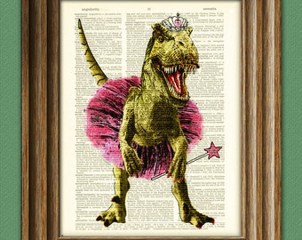 "T-Rex in Ballerina outfit ""Big Tina's first recital"" Pink Tiara Dinosaur art print beautifully upcycled dictionary page book art print"