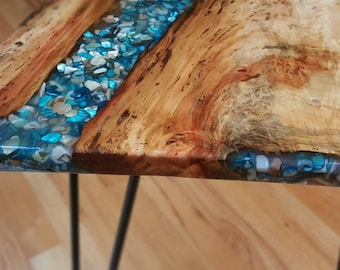 Coffee table, example of CUSTOM ORDER, live edgewood, resin river, live edge wood and resin, resin river, handcrafted, rustic