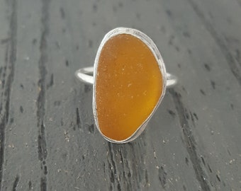 Sea Glass Jewelry Sea Glass Ring Amber Honey Brown Sea Glass Ring Size 9 - R-196