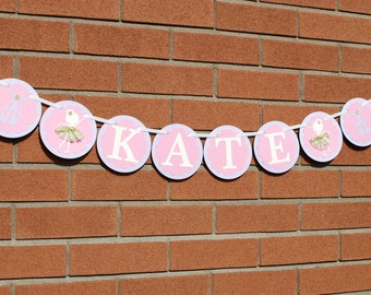 Ballerina Birthday Party Decor, Pink Lavender Ivory Ballerina Custom Name Banner, Personalized Gift, Ballerina Baby Gift, Baby Shower Gift