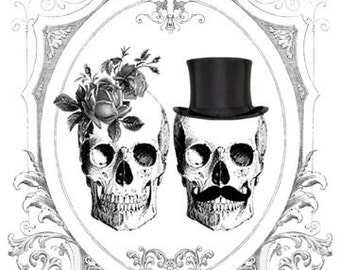 BIANCA Printable DIY Wedding Invitation Suite - Black and White Gothic Victorian Gypsy Skulls &  Roses - Customized