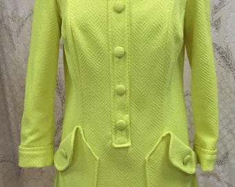 Vintage 1960s Yellow Button-down Day Dress